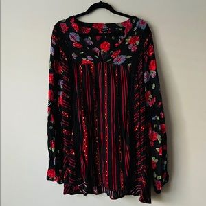 Torrid Mixed Floral Stripe Print Crochet Inset Top